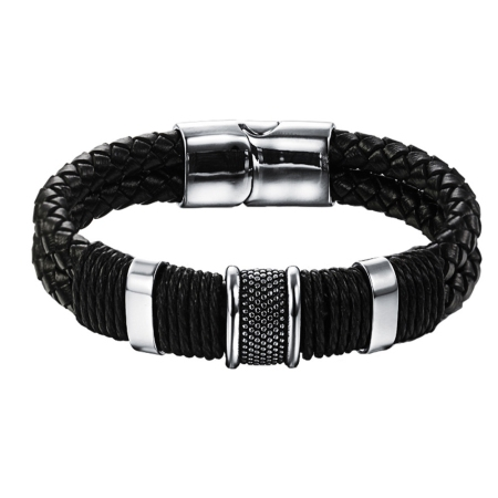 Woven Nappa Black Leather Bracelet