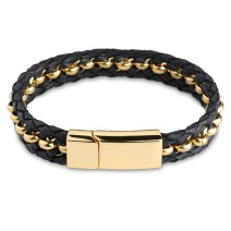 Gold Beads Leather Bracelet